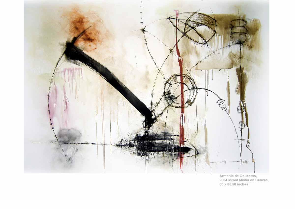 Armonia de Opuestos, 2004  Mixed Media on Canvas, 60 x 85.50 inches