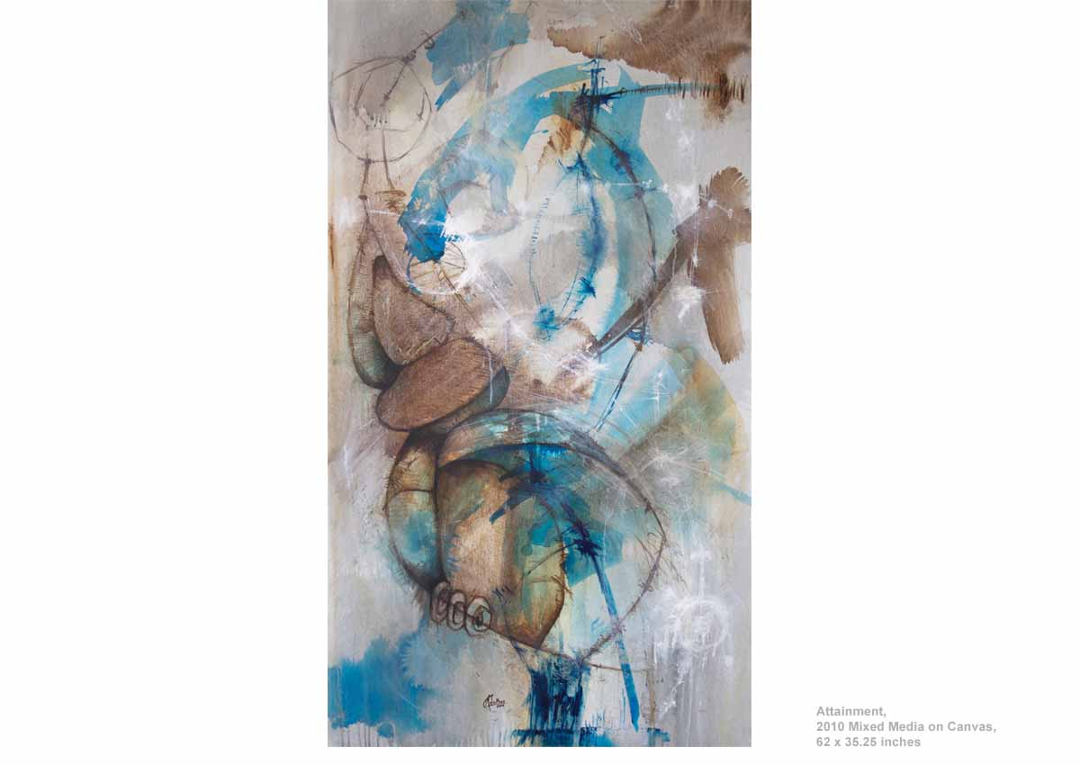 Attainment, 2010  Mixed Media on Canvas, 62 x 35.25 inches