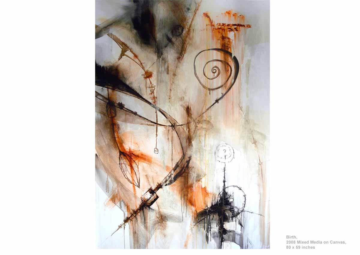 Birth, 2008  Mixed Media on Canvas, 80 x 59 inches