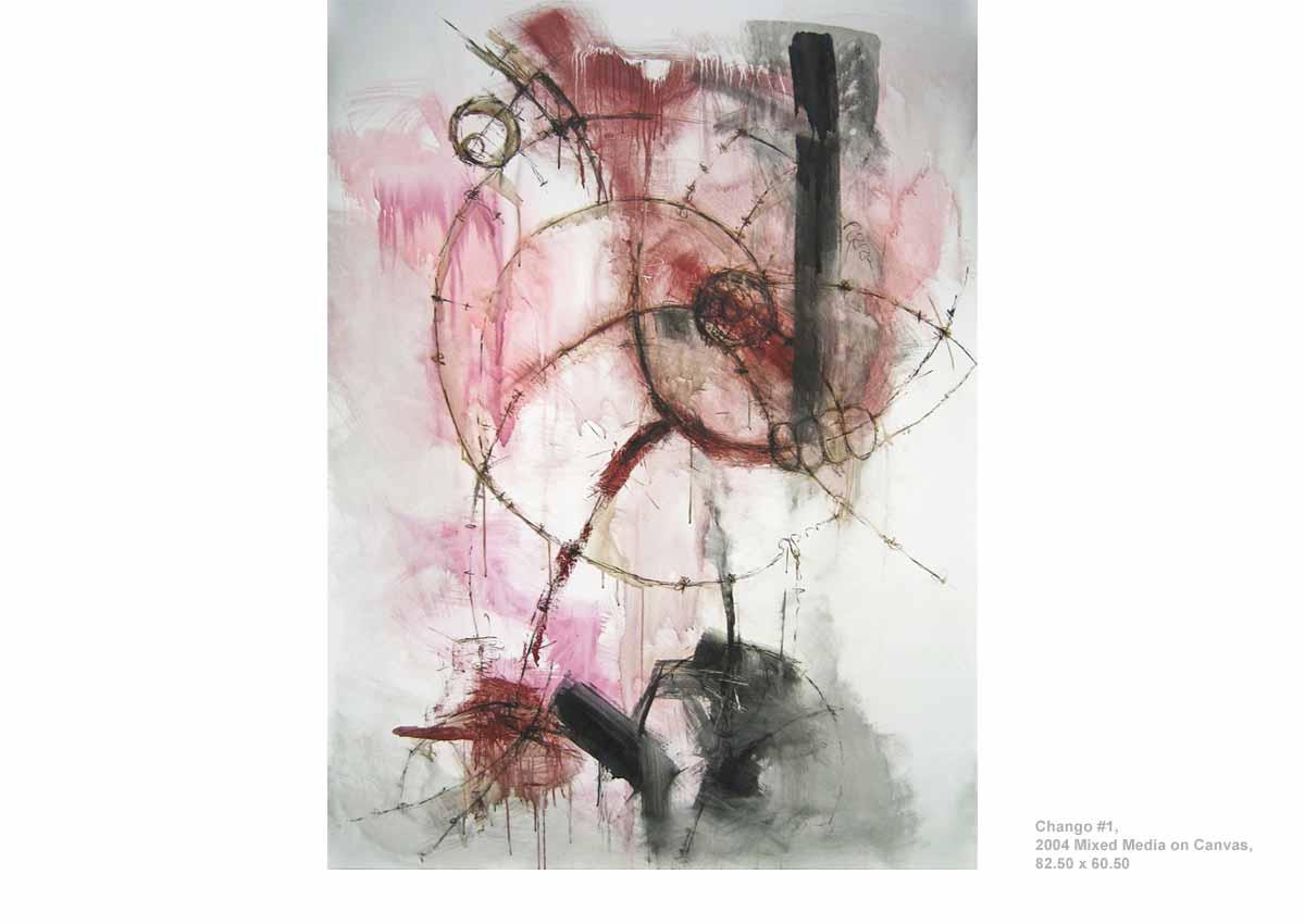 Chango #1, 2004  Mixed Media on Canvas, 82.50 x 60.50