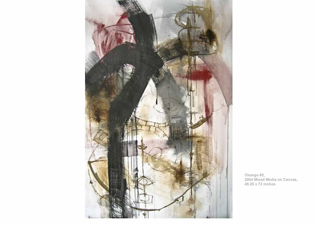 Chango #2, 2004  Mixed Media on Canvas, 49.25 x 72 inches