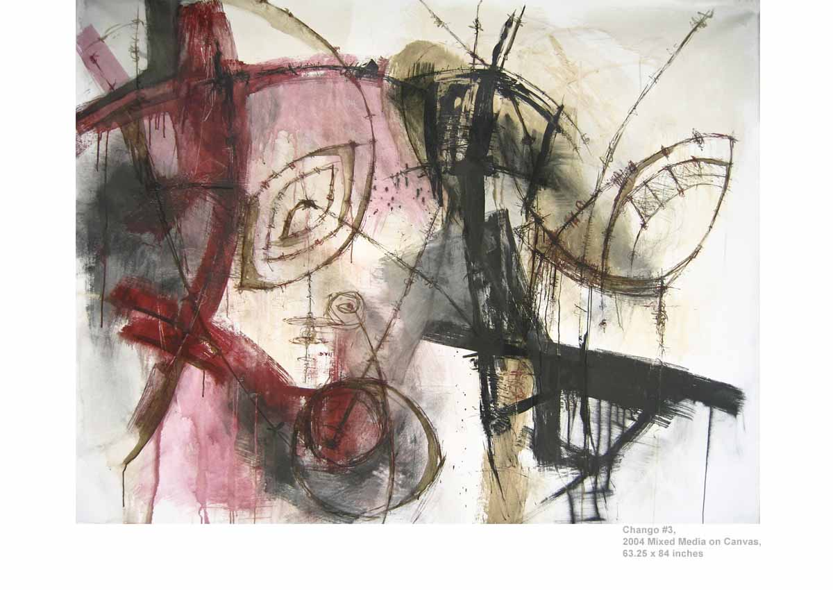 Chango #3, 2004  Mixed Media on Canvas, 63.25 x 84 inches