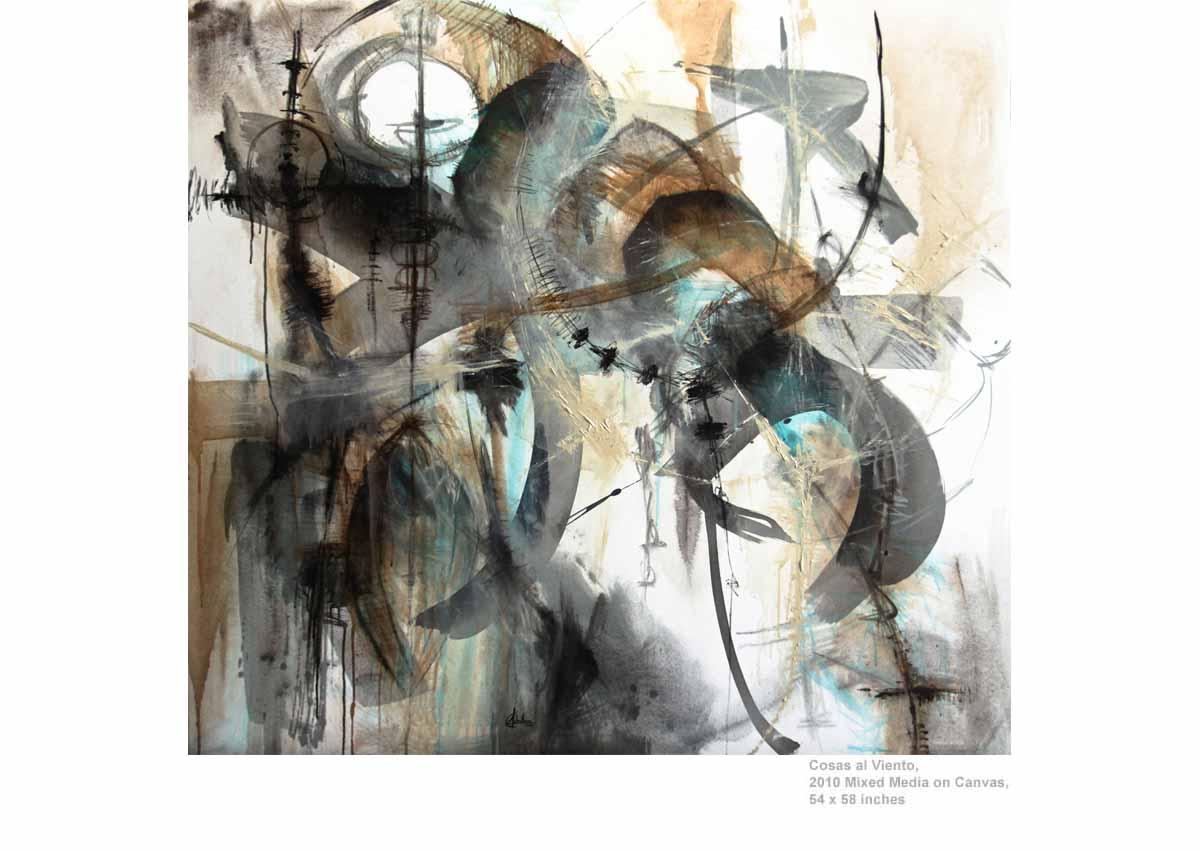 Cosas al Viento, 2010  Mixed Media on Canvas, 54 x 58 inches