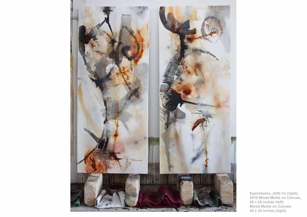 Espontaneo, (left) Yo (right), 2010 Mixed Media on Canvas,  59 x 25 inches (left) Mixed Media on Canvas, 59 x 25 inches (right)