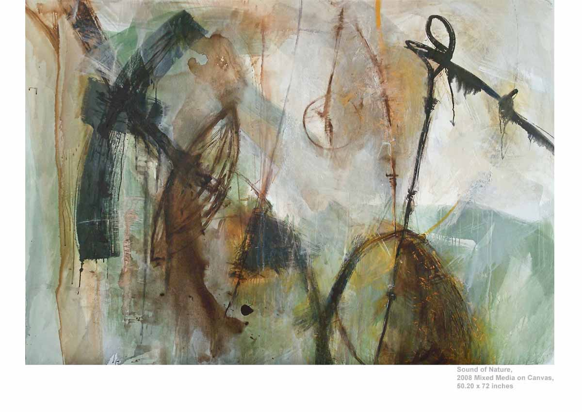 Sound of Nature, 2008  Mixed Media on Canvas, 50.20 x 72 inches